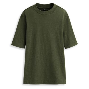 竹節棉中高領短袖T恤-女