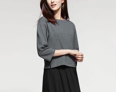 厚織羅紋寬版T恤-女