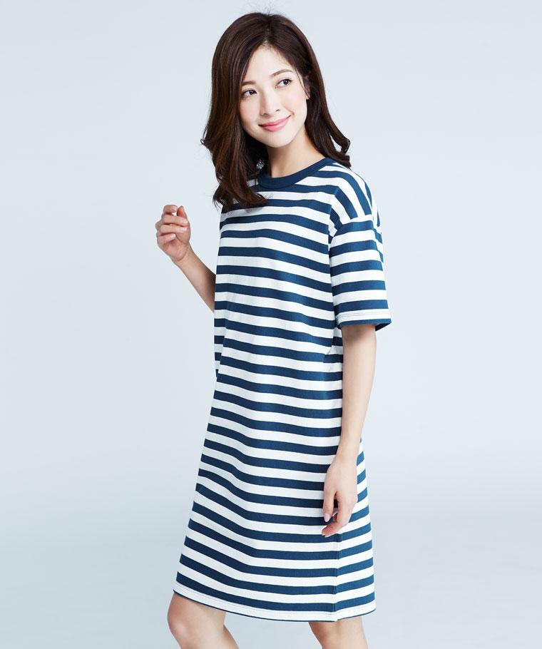 厚紡寬版條紋洋裝-女