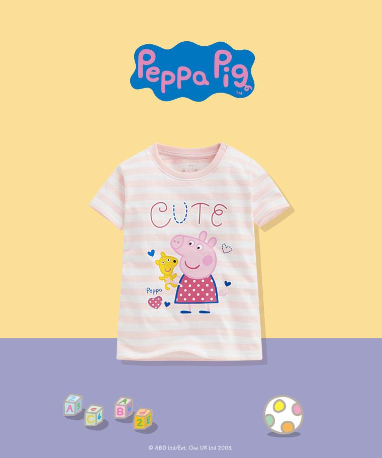 Peppa Pig條紋印花T恤-12-小童