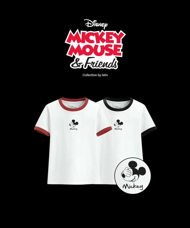 迪士尼系列羅紋配色印花T恤-09-童