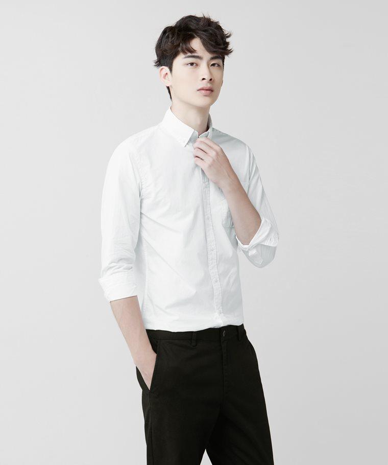 柔棉長袖襯衫-男