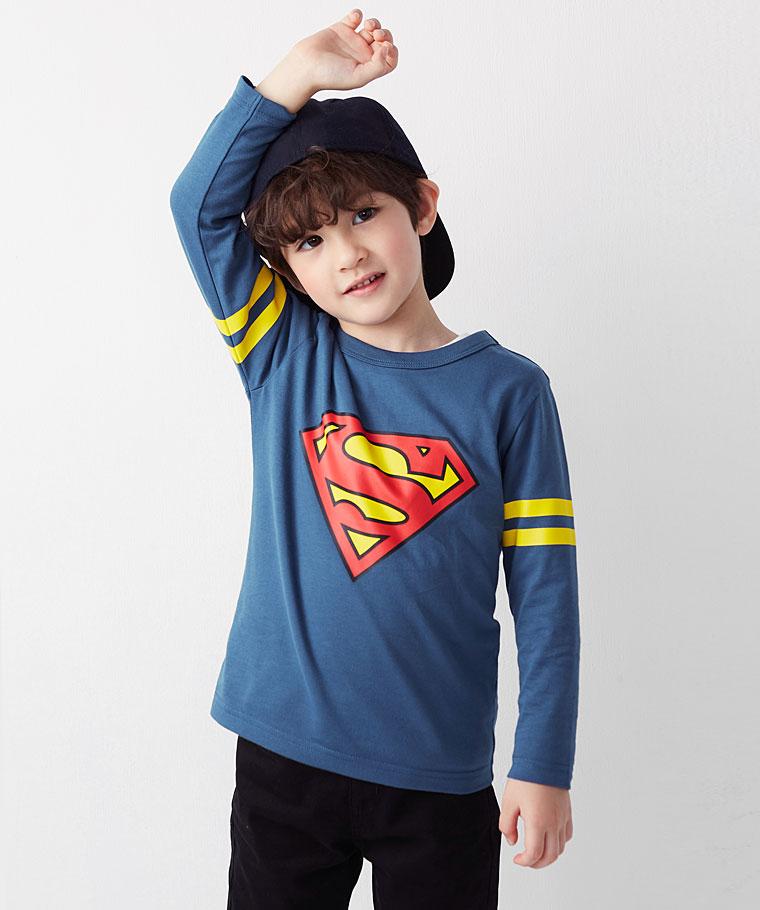 Superman長袖印花T恤-01-童