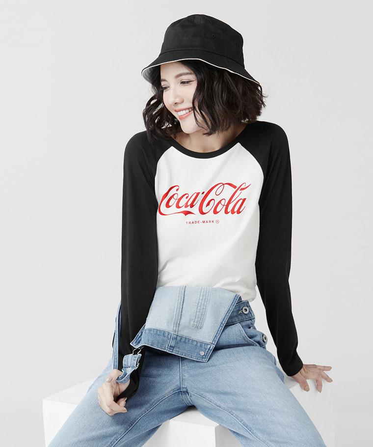 可口可樂拉克蘭長袖印花T恤-02-女