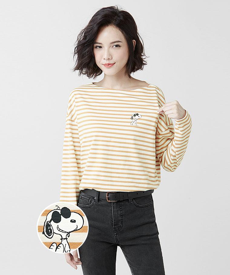 史努比寬版條紋長袖印花T恤-14-女