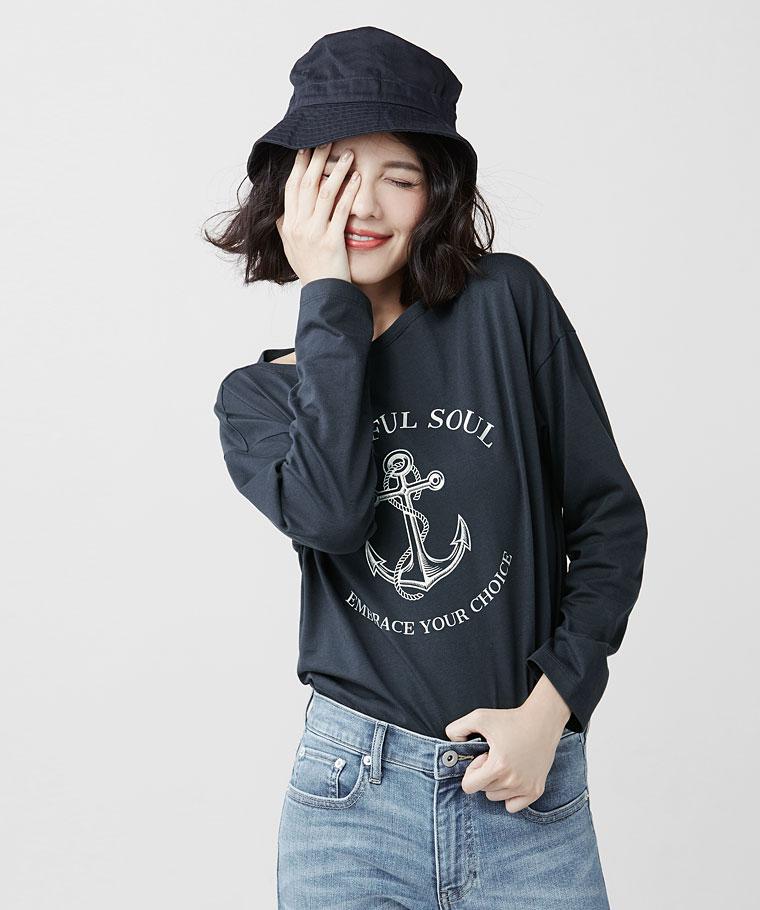船錨寬版長袖印花T恤-女