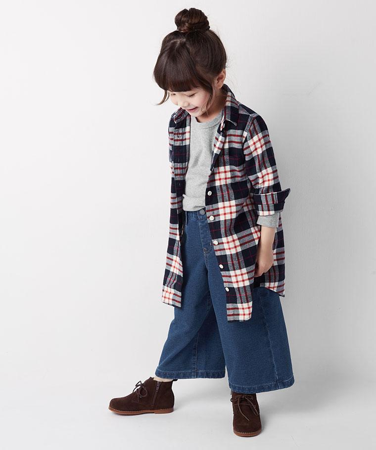 法蘭絨格紋洋裝-童