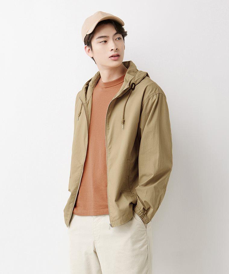 棉質連帽外套-男