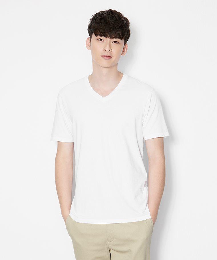 純棉V領T恤-男