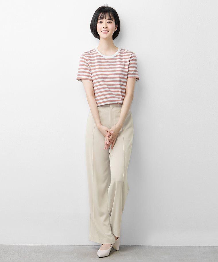 純棉條紋圓領T恤-女