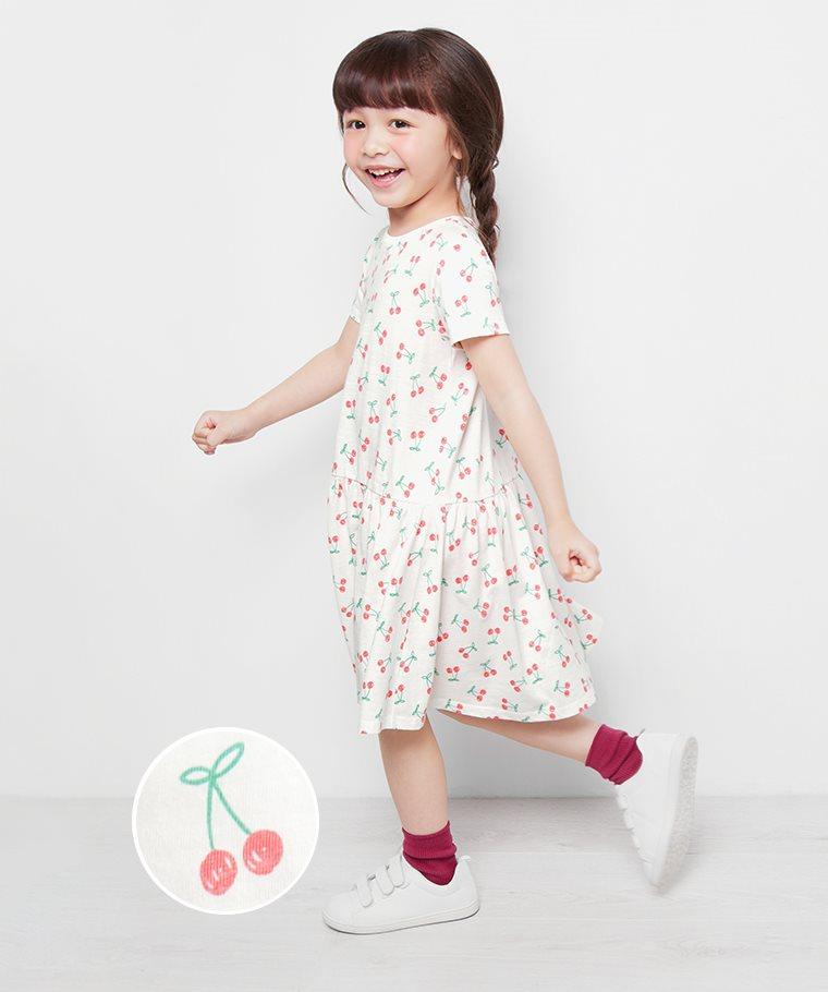 竹節棉印花洋裝-01-童