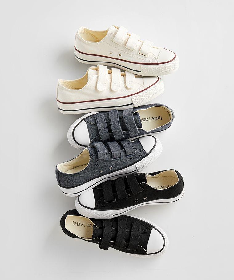 棉質自黏帶帆布鞋-女