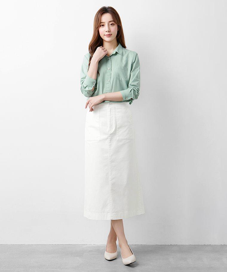 棉麻長袖襯衫-女