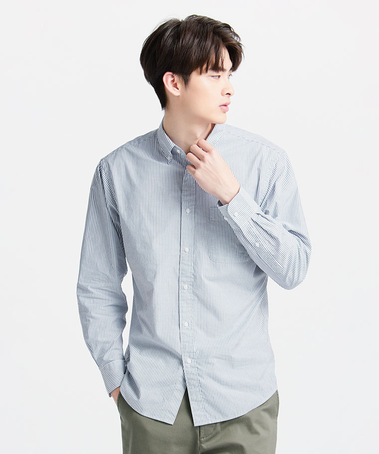 柔棉條紋長袖襯衫-男