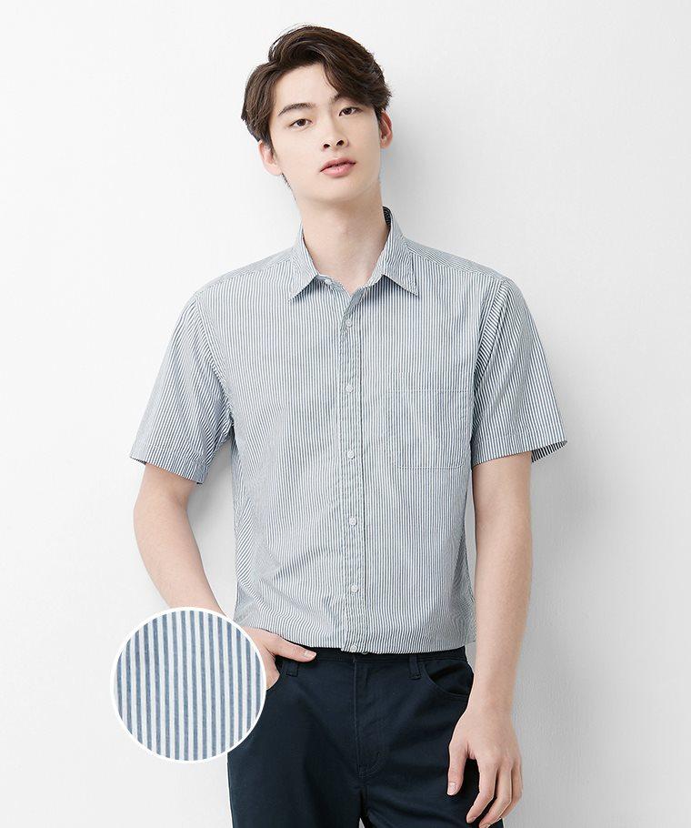 柔棉條紋短袖襯衫-男