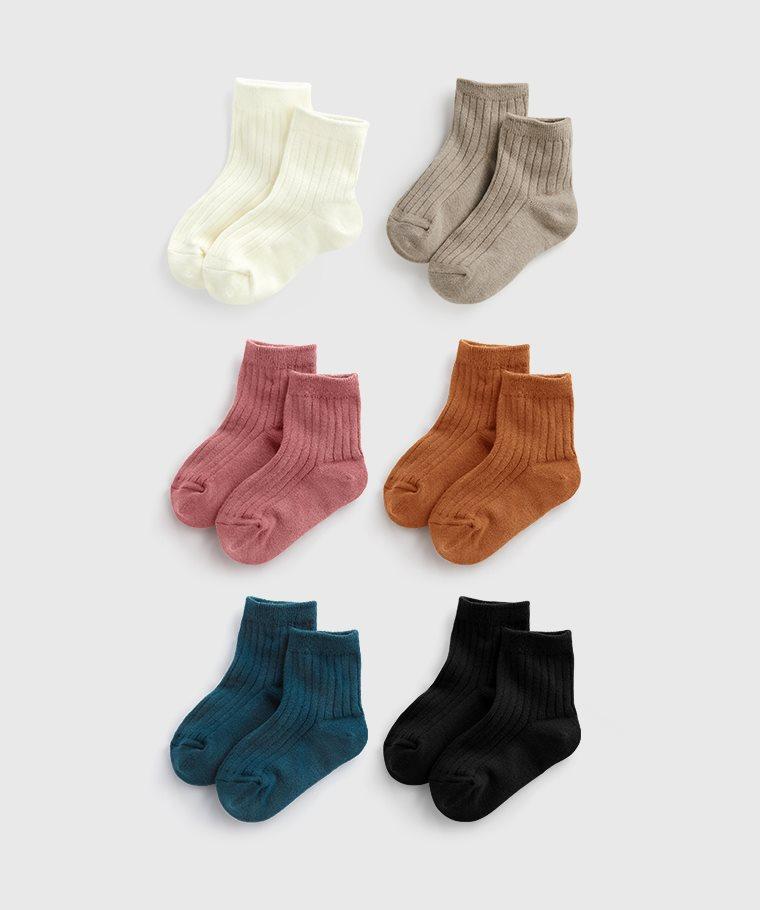 素色羅紋短襪-童