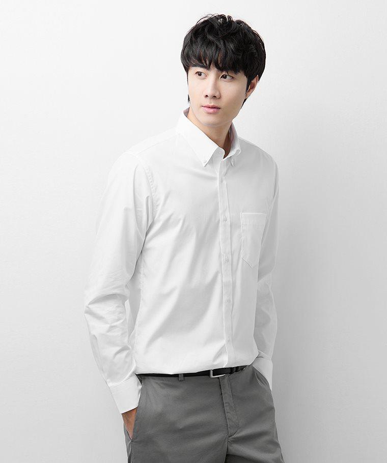 商務彈性長袖襯衫-男