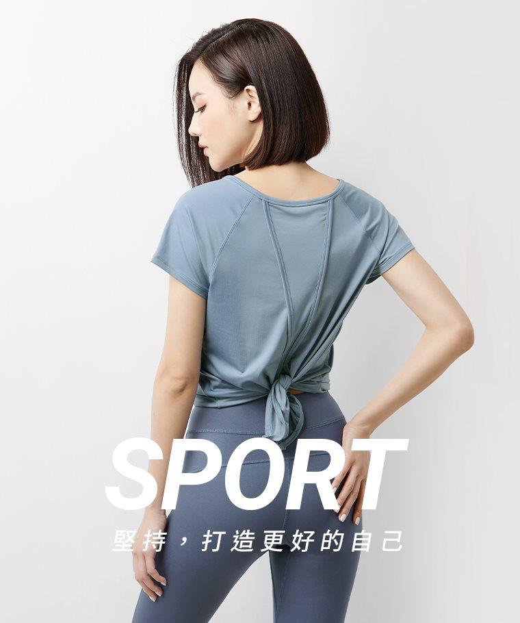 吸排開衩綁帶短袖T恤-女
