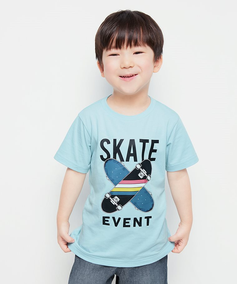滑板印花T恤-童