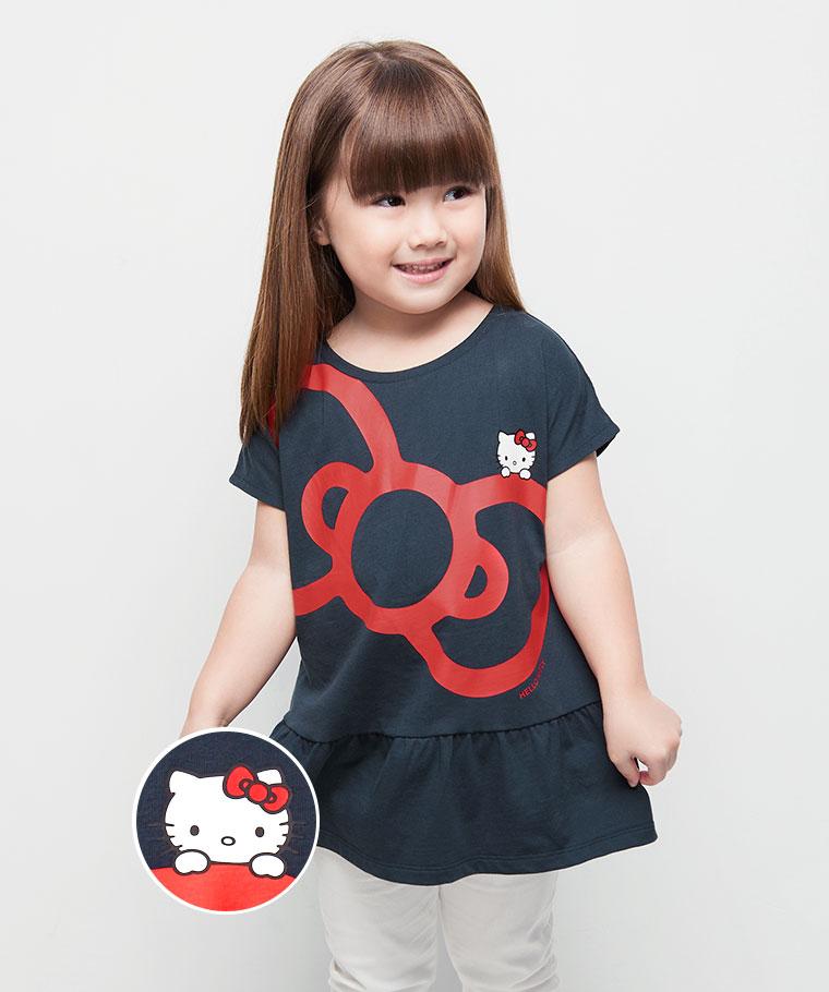 Hello Kitty荷葉印花T恤-14-童