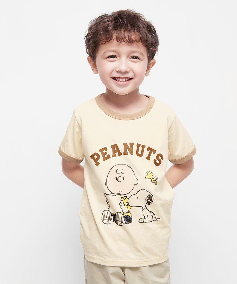 史努比系列羅紋配色印花T恤-25-童