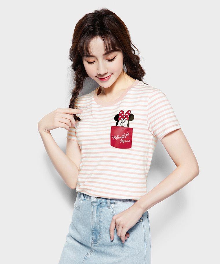 迪士尼系列條紋印花T恤-19-女