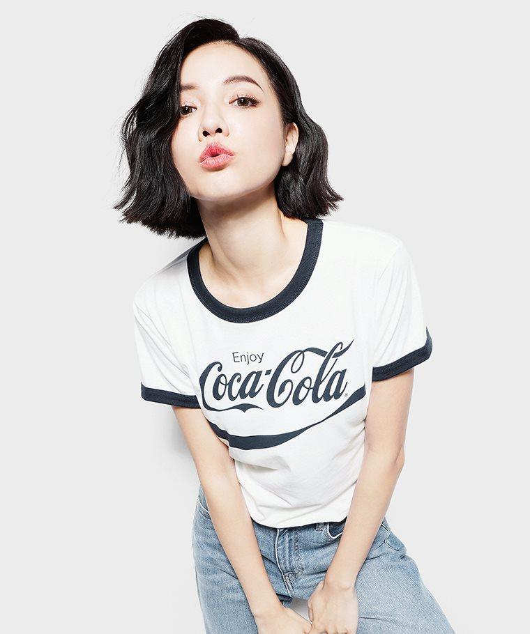 可口可樂羅紋配色印花T恤-07-女