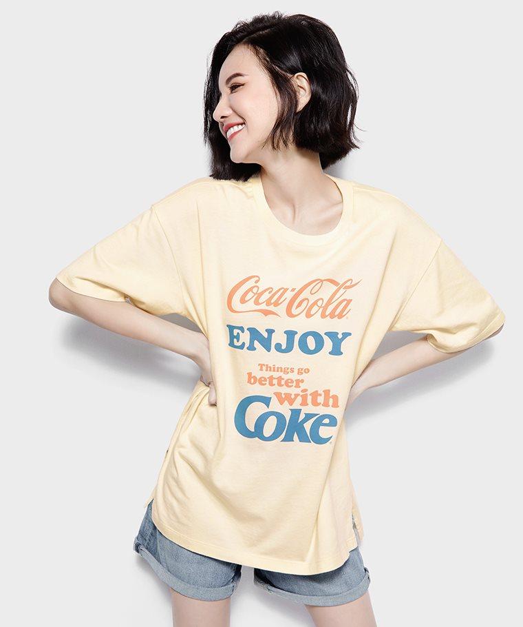 可口可樂寬長版印花T恤-06-女