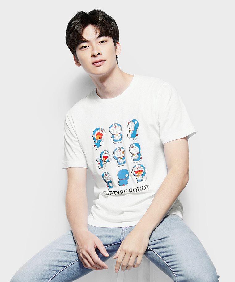 哆啦A夢印花T恤-13-男