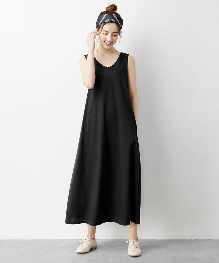 絲光棉V領寬鬆長洋裝-女