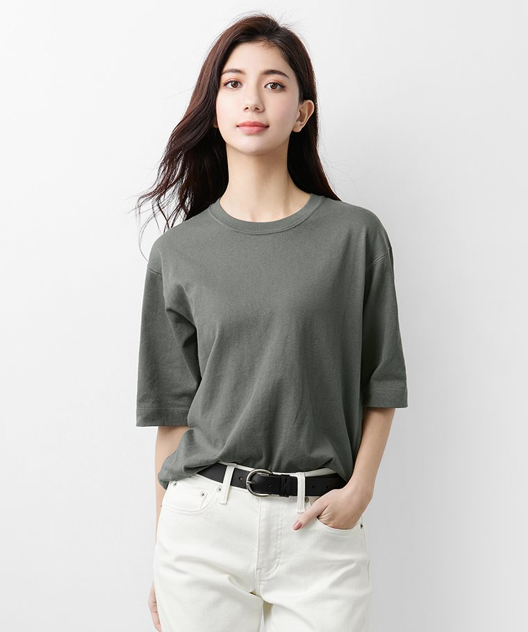 粗紡寬版圓領T恤-女