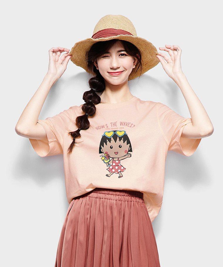 櫻桃小丸子寬版印花T恤-03-女