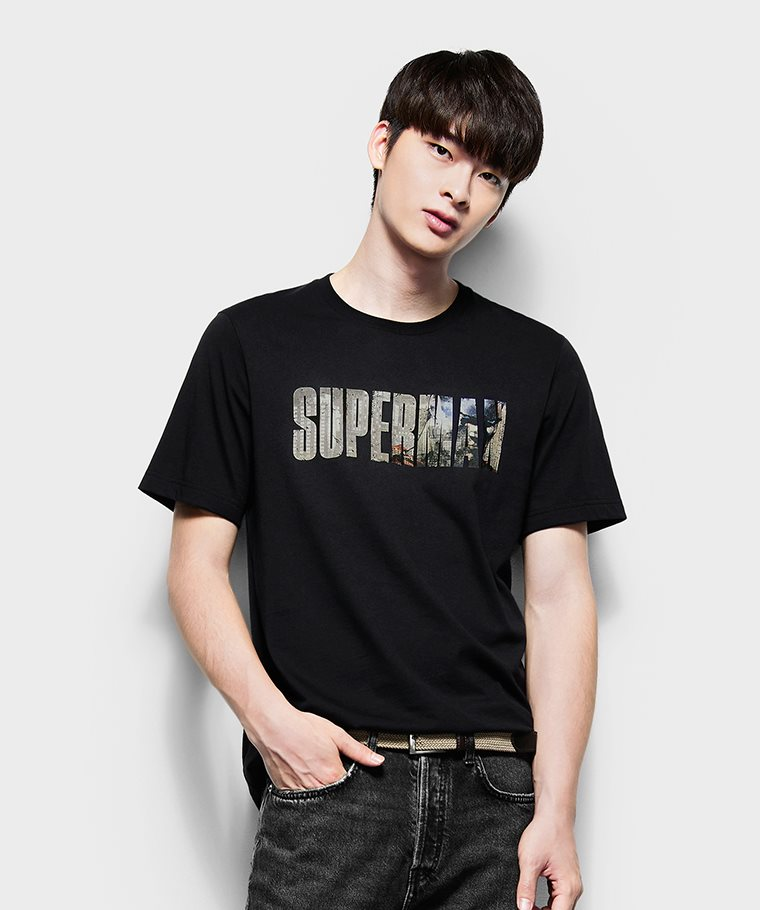 Superman印花T恤-07-男