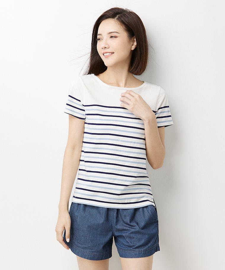 純棉條紋短袖T恤-02-女