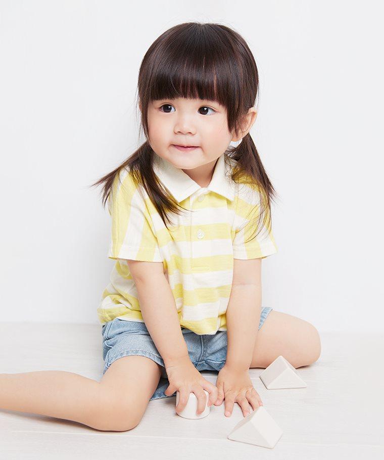 竹節棉條紋polo衫-Baby